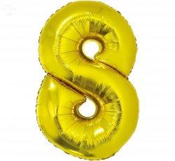 Balon foliowy złoty Cyfra 8 85 cm