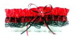 Podwiązka studniówkowa czerwono-czarna Wersal