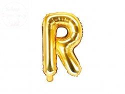 Balon foliowy Litera R 35 cm złoty