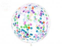 Balon krystaliczny z okrągłym konfetti 1 m