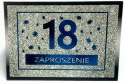 Zaproszeniena 18-stkę Brokat niebieski 1szt