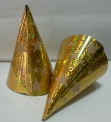 Czapeczki metalizowane złote w gwiazdki  1szt