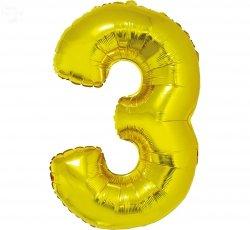 Balon foliowy złoty Cyfra 3 85 cm