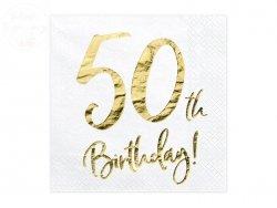 Serwetki 3 wartsw białe 50-ste urodziny  20 szt