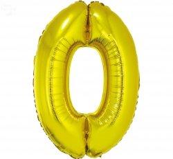 Balon foliowy złoty Cyfra 0 85 cm