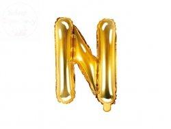Balon foliowy Litera N 35 cm złoty