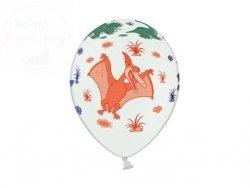Balony 14 cali białe pastelowe Dinozaury 1szt