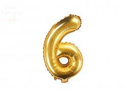Balon foliowy Cyfra 6 - 35 cm złoty