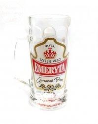 Kufel szklany 0,5L szcęśliwego EMERYTA