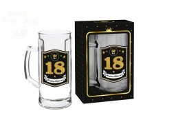 Kufel szklany GOLD  0,5L  18-ste urodziny