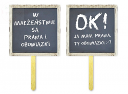 Tabliczki do fotobudek Prawa i obowiązki 12 x 12cm