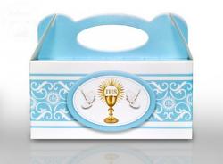 Pudełko komunijne na ciasto - błękitne 1 szt