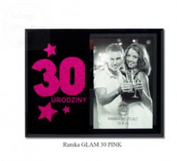 Ramka Foto na 30-stkę - różowy brokat