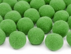 Pompony pluszowe jasno-zielone 2 cm 20 szt