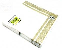 Serwetki gastr. 33x33 białe + złoty pasek 20szt