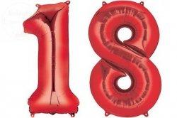 Balon foliowy czerwona Cyfra 18  85 cm