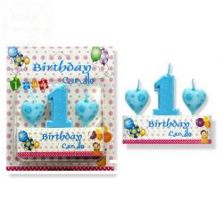 Zestaw świeczek urodzinowych 1+serduszka niebieski