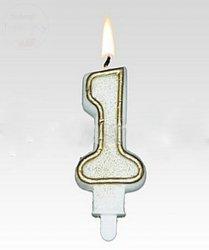 Świeczka urodzinowa cyferka 1 złota+brokat