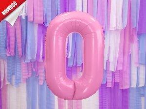 Balon foliowy cyfra 0 różowe - 86 cm