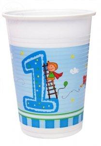 Kubeczki Pierwsze Urodziny 8 szt  - niebieskie