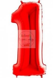 Balon foliowy 102 cm czerwony cyfra 1