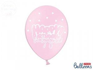 Balony pastelowe różowe HAPPY BIRTHDAY BABY GIRL