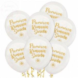 Balony białe + złotym nadruki Pierwsza Komunia IHS