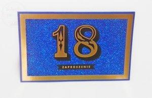 Zaproszenie na 18 urodziny  Brokat Niebieski