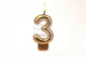 Świeczka urodzinowa cyferka złota 3