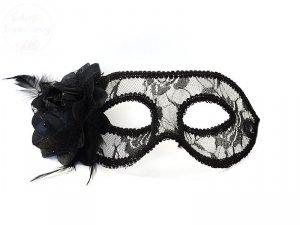 Maska Party koronkowa z różą czarna - 1 szt