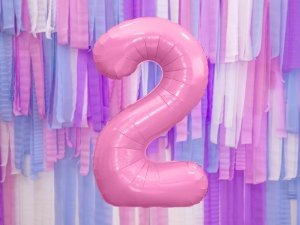 Balon foliowy cyfra 2 różowa - 86 cm