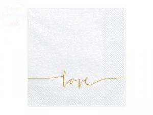 Serwetki białe w złoty naspis LOVE 33x33cm 20sz