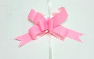 Wstążka ściagana 3 cm  neonowy róż 1szt