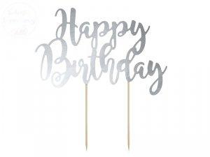 Topper na tort srebrny  Happy birthday  22,5 cm
