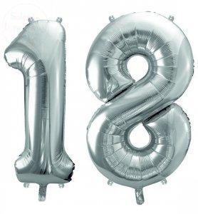 Balon foliowy  86 cm srebrny cyfra 18