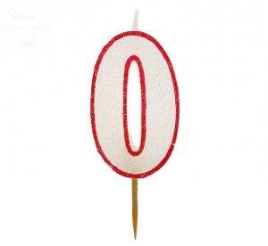 Świeczka cyferka 0 czerwony kontur z brokatem