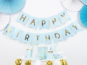 Baner Happy Birthday jasny niebieski 15 x 175 cm