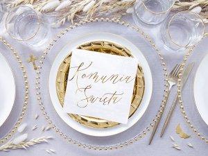Serwetki KOMUNIA ŚWIIĘTA białe ze złotym napisem