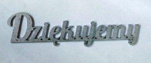 Napis DZIĘKUJEMY srebrny