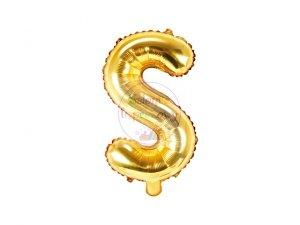 Balon foliowy Litera S 35 cm złoty