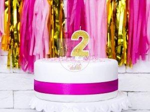 Świeczka urodzinowa cyferka 2 złota z brokatem