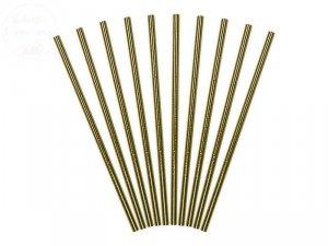 Słomki papierowe  Złote Metaliczne 10 szt