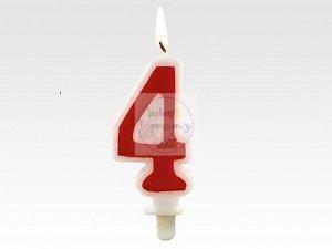 Świeczka RED cyferka  4 - 1szt