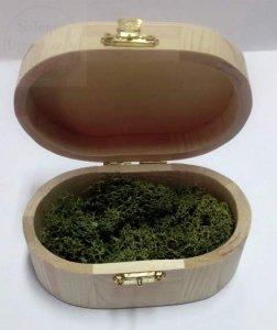 Drewniana owalna szkatułka na obrączki