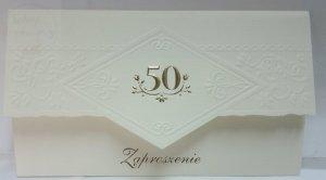 Zaproszenie na 50 kremowe ze złotymi dodatkami