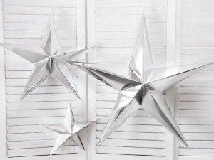 Gwiazda papierowa srebrny metalik 30 cm.