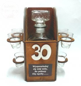 Karafka Konfesjonał na 30 urodziny + 6 kieliszków