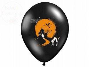 Balony 14 cali czarne z białym nadrukiem DUSZEK