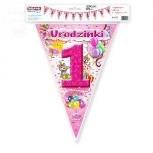Chorągiewki, flagi 1 Urodzinki  róż 200 cm