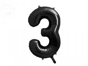 Balon foliowy cyfra 3 czarna - 86 cm